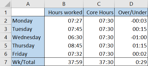 Screenshot: Excel Flexi Time Example